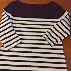 Ann Taylor Loft 3/4 sleeve t-shirt purple & white
